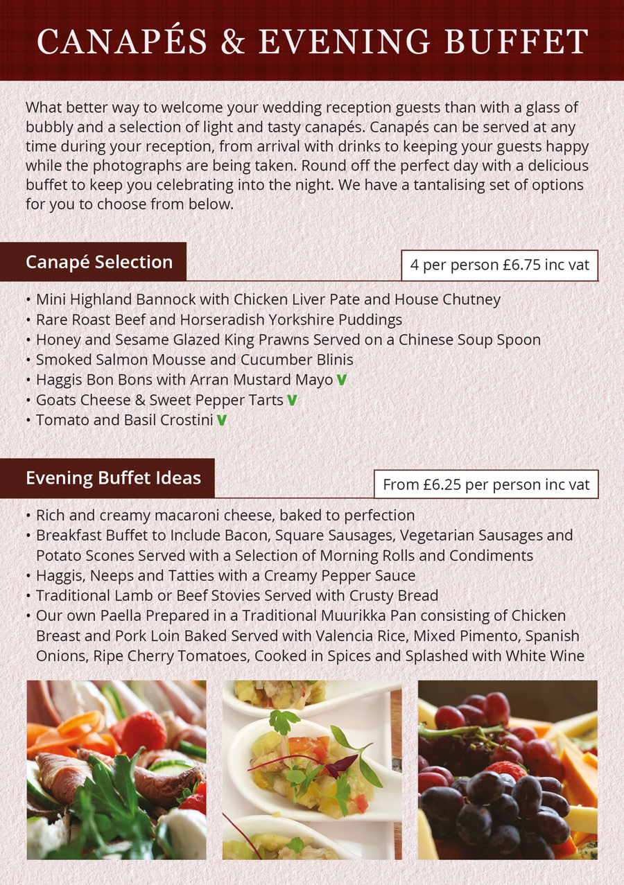 Wedding Brochure - Canapé Selection and Evening Buffet Ideas